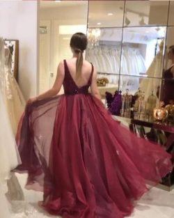 Luxus Weinrot Abendkleider Lang Günstig | Abiballkleider Rückenfrei Online
