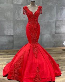 Luxus Rote Abendkleider Lang | Abiballkleider Bodenlang Online