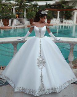 Weiße Brautkleid A Linie   Kristal Hochzeitskleider Günstig Online