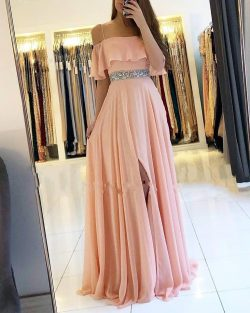 Coral Abendkleider Lang Chiffon   Etuikleider Abendmoden Online