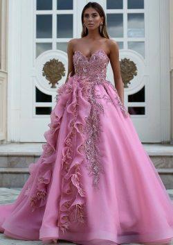 Luxus Abendkleider Lang Rosa   Abendmoden Online Kaufen