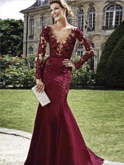 Burgundy Abendkleider Lang Mit Ärmel   Abendmoden Mit Spitze
