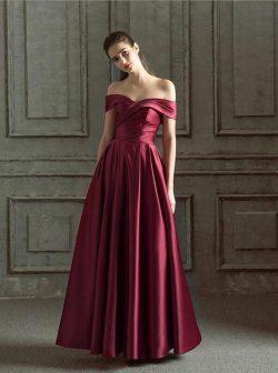 Elegante Abendkleider Lang Weinrot | Schlichtes Abendkleid Online