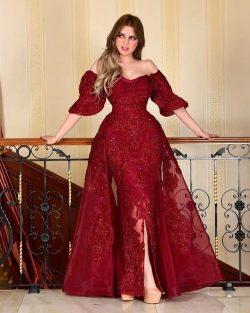 Designer Abendkleider Mit Ärmel   Rote Abiballkleider Mit Spitze
