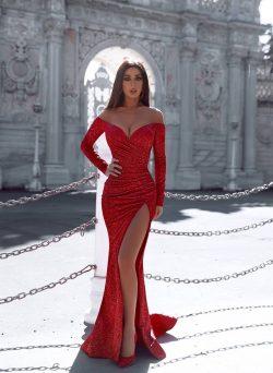 Rote Abendkleider Mit Ärmel   Abiballkleider Lang Glitzer