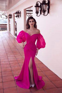 Fuchsia Abendkleider mit Ärmel   Abiballkleider Günstig Online