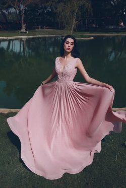 Designer Abendkleider Lang V Ausschnitt   Abiballkleider Chiffon Rosa