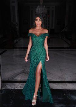Fashion Abendkleider Spitze Grün   Abiballkleider Lang Günstig