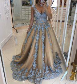 Modern Abendkleid Blau   A Linie Abendmoden mit Spitze online