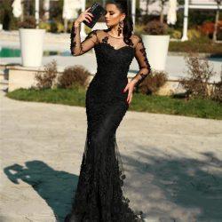 Elegante Abendkleider Lang Schwarz   Spitze Abiballkleider Mit Ärmel