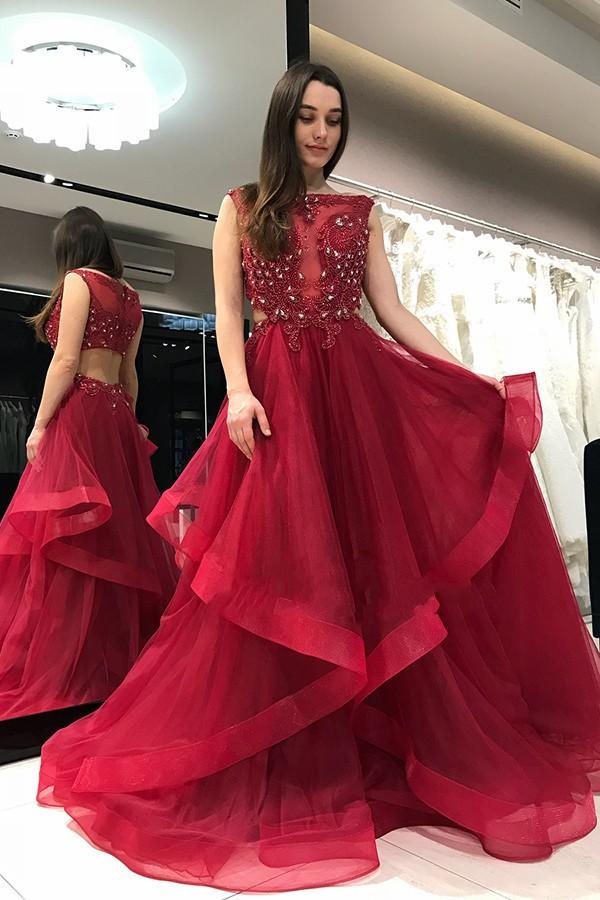 Elegante Abendkleider Lang Rot | Bodenlang Abiballkleider ...