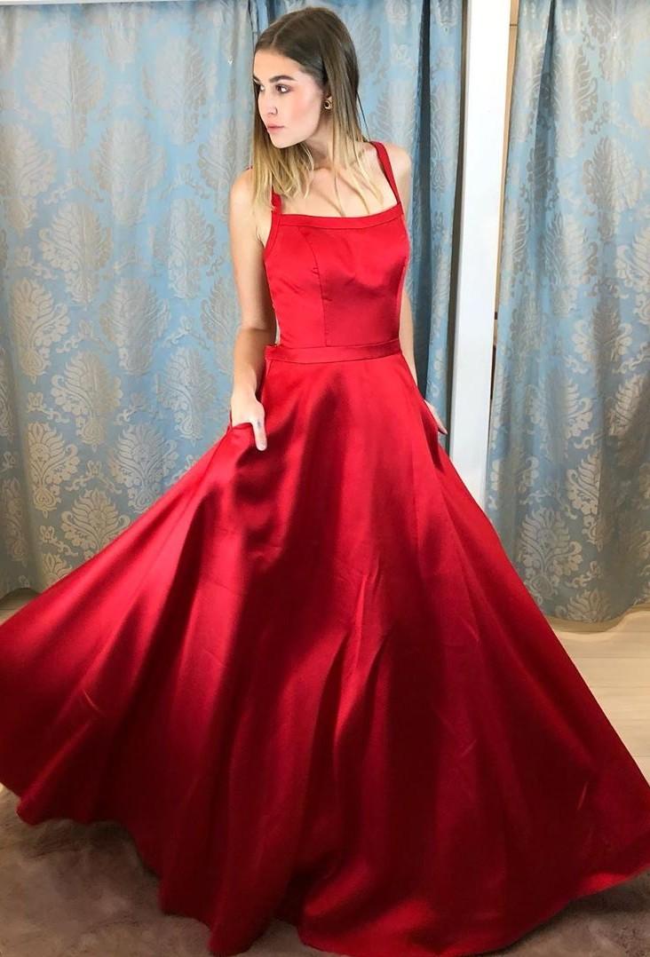 Rote Abendkleider Lang Günstig  Schlichte Abiballkleider Online