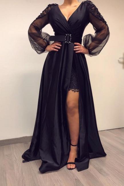 elegante abendkleider lang schwarz   abiballkleider mit